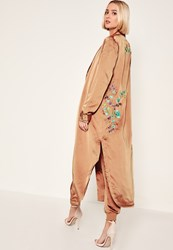 Missguided Rose Gold Floral Embroidered Duster Jacket