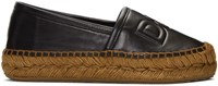 Dolce And Gabbana Black Leather Logo Espadrilles