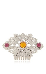 Rodarte Nickel Floral Hair Comb With Amber Glass Cabochons Silver