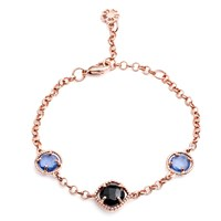 Azuni London Delphi Three Stone Bracelet Rose Gold With Black Onyx And Iolite