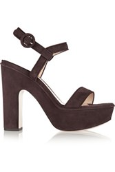 Paul Andrew Stanton Suede Platform Sandals Dark Brown