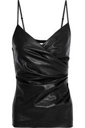 Bailey 44 Spectrals Wrap Effect Faux Leather And Jersey Camisole Black