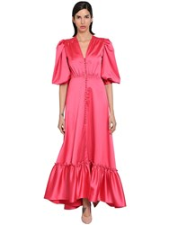 Luisa Beccaria Long Stretch Ruffled Satin Dress Dark Pink