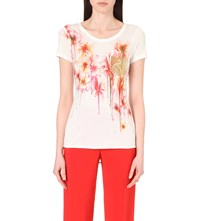 Karen Millen Floral Print Stretch Jersey T Shirt Multi Coloured