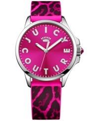 Juicy Couture Women's Jetsetter Black And Hot Pink Leopard Silicone Strap Watch 38Mm 1901187