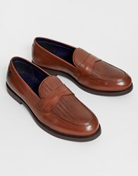 Farah Leather Woven Loafer In Tan