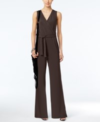 Ny Collection Petite Surplice Belted Wide Leg Jumpsuit Coffee Bean