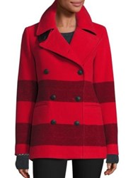 Rag And Bone Skye Striped Peacoat Fiery Red