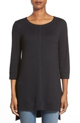 Women's Caslon Three Quarter Sleeve Side Slit Tunic Black