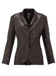 Norma Kamali Single Breasted Sequinned Jersey Blazer Black