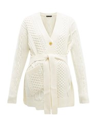 Proenza Schouler Belted Cable Knit Wool Cardigan Ivory