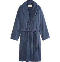 Cleverly Laundry Striped Cotton Terry Robe Navy