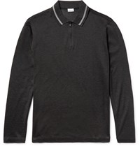 Brioni Cotton And Silk Blend Pique Half Zip Polo Shirt Charcoal