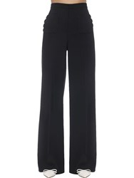 Red Valentino High Rise Stretch Wide Leg Pants Black