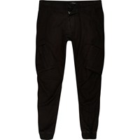 River Island Mens Black Slim Fit Cargo Trousers
