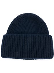Golden Goose Deluxe Brand Ribbed Wool Beanie Blue