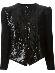 Yves Saint Laurent Vintage Sequin Panel Cardigan Black