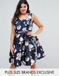 Chi Chi Plus London Sateen Floral Print Prom Dress Multi