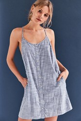 Obey Sanders Button Front Chambray Dress Blue Multi