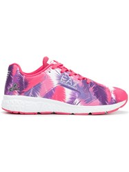 Emporio Armani Ea7 Printed Lace Up Sneakers Pink And Purple