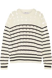 Alexander Wang T By Cutout Striped Cotton Sweater Off White