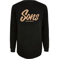 River Island Only And Sons Black Curve Hem Sweatshirt