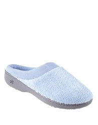 Isotoner Microterry Matte Satin Clog Slippers Blue Moon