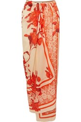 Johanna Ortiz Cafe Del Mar Floral Print Linen Pareo Red