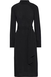 Iris And Ink Woman Mabil Button Detailed Crepe Dress Black