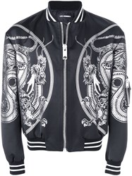 Les Hommes Dragon Patch Bomber Jacket Black