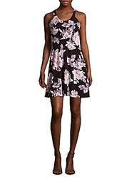 Collective Concepts Scoopneck Floral Print Dress Black Multicolor