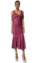 Prabal Gurung Short Sleeve Draped Shoulder Dress Merlot