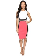 Calvin Klein Color Block Sheath Dress Cd6m1v5k Watermelon Multi Women's Dress Red