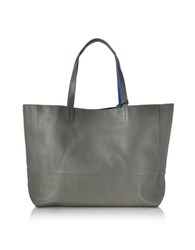 Zadig And Voltaire Gray Cobalt Blue Leather Reversible Hendrix Tote Bag
