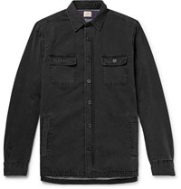 Faherty Cpo Flannel Lined Washed Denim Shirt Jacket Black