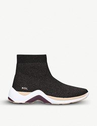 Kurt Geiger Linford Sock Stretch Knit High Top Trainers Bronze