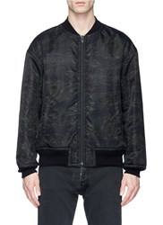 Alexander Wang Camouflage Print Back Patch Bomber Jacket Green