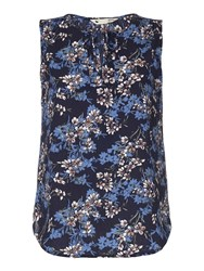 Yumi Floral Print Sleeveless Top Blue