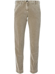 Massimo Alba Velvet Cropped Trousers Nude And Neutrals