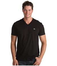 Lacoste S S Pima Jersey V Neck T Shirt Black Men's Short Sleeve Pullover