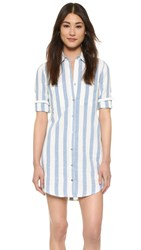 7 For All Mankind Striped Shirtdress Light Blue White