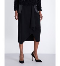 Max Mara Leather Panel Asymmetric Wool Skirt Black