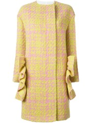 Marni Ruffle Checked Coat Yellow And Orange