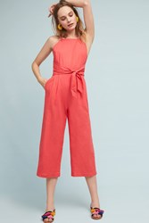 Greylin Tied Linen Jumpsuit Orange