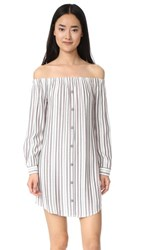 Wayf Rachel Off Shoulder Shirtdress Ivory Navy Red Stripe