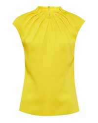 Ted Baker Reela Pleated High Neck Top Yellow