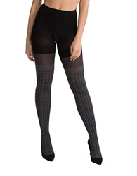 Spanx Cable Knit Over The Knee Semi Sheer Tights Sweater Grey