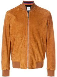 Paul Smith Suede Bomber Jacket Brown