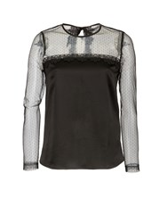 Morgan Plumetis Lace And Satin Top Black