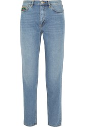 Mih Jeans M.I.H Linda Embroidered High Rise Straight Leg Mid Denim